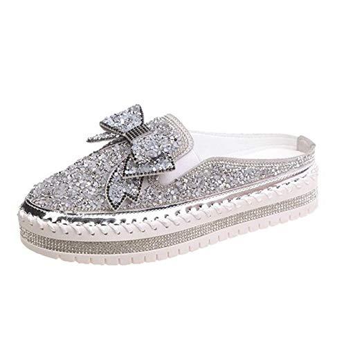 Zapatos de Plataforma para Mujer Ocio Nudo de Lazo Suela Gruesa Usable Brillo Bling Confort Punta Redonda Zapatos Creepers Caminata Diaria