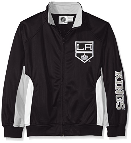NHL Los Angeles Kings Tricot Track Jacket with Logo WordMark, Small, Black