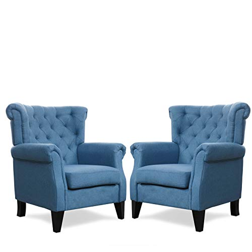 """Festival Depot 2 pcs Indoor Modern Fabric Furniture Set Accent Arm Chair Single Sofa for Living Room Bedroom with Deep Seat High Back and Thick Cushions, 37.4"""" x 35.8"""" x 41.5"""" (Blue)"""