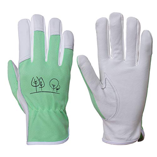 TOMAKOU Womens Gardening Gloves with Calfskin Leather and Quick Dry Cloth Lightweight and Durable for Rose Pruning Weeding and Yard Work ((Medium)