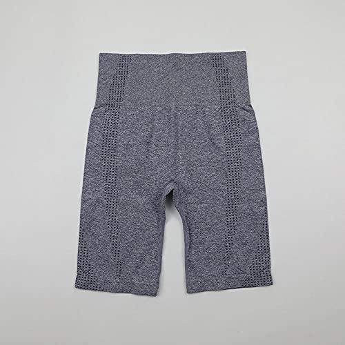ArcherWlh Leggings Push Up,Verso Jacquard Senza Soluzione di continuità Fitness Five Pants Fitness Shorts Snakpist Yoga Five Pants-Grigio Blu_L.