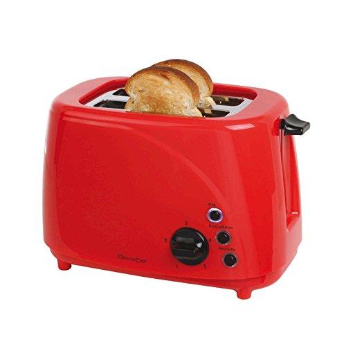 2-Scheiben Toaster Krümelschublade 850 Watt Auftauen 5 Stufen (Kabelaufwicklung, LED Anzeige, Aufwärmfunktion, 3 Kontrollleuchten, Automatischer Auswurf, Rot)