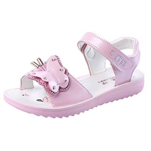 LANSKIRT_Zapatos Sandalias Bebe Niña Verano 2019 Planos Bohemios Casuales Sandalias de Princesa Pantuflas Sandalias Niña Pantuflas(Rosado,28 EU)