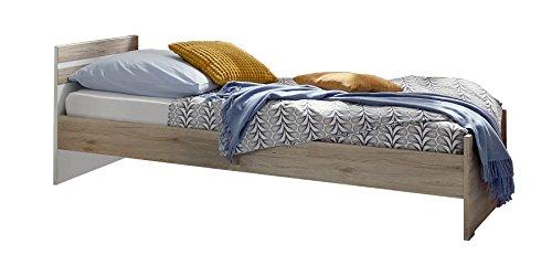 Wimex Bett/ Doppelbett Joker, Liegefläche 140x200, San Remo-Eiche/Absetzung Weiß