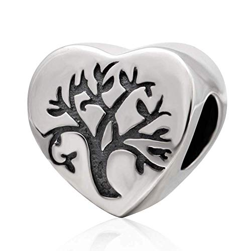 Abalorio de plata de ley 925, diseño de árbol de la vida, para pulsera de pandora (A)