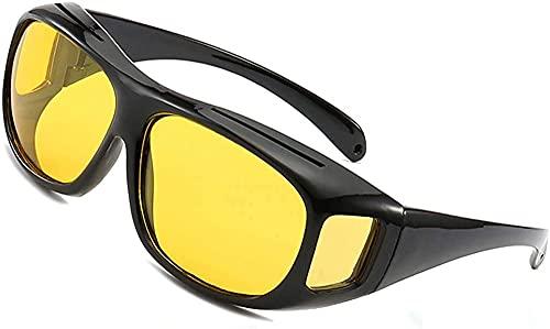 MRWW Hombres Estilo de Moda Espejo polarizado Rectangular Ajuste sobre Gafas Gafas de Sol con protección Lateral para Lentes de conducción Abrigo de Cobre Gafas,Amarillo