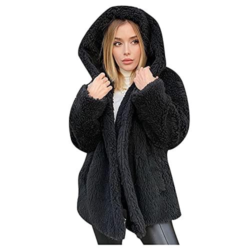 Chaqueta de punto de forro polar de doble cara para mujer de color slido para invierno, clido y esponjoso frente abierto con bolsillos Wancooy, Negro, M