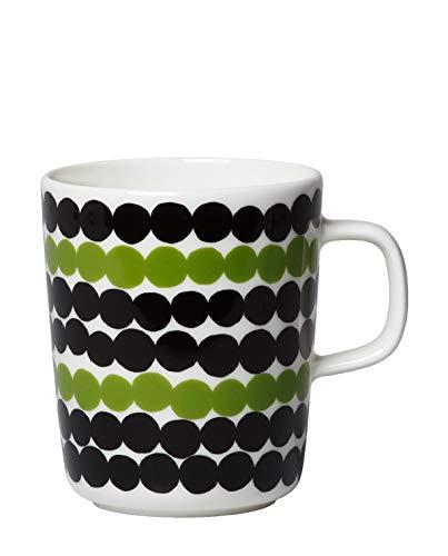 Marimekko - Mug, Becher, Henkelbecher - Siirtolapuutarha - Steingut - weiß/schwarz/grün - 250 ml