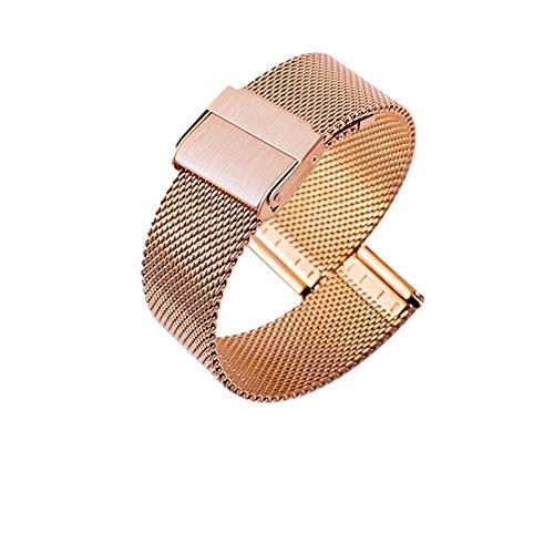 HUIJUNWENTI Reloj Banda de Acero Correa de Malla Forwatch Banda Metal Pulsera de Acero Inoxidable Universal Ultrafino Ultrafino 10-22 mm (Color : Rose Gold, Talla : 16mm)