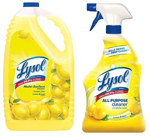 Lyso*l Lemon Breeze, Sparkling Lemon, and Sunflower, 32 Fluid Ounce + 144 Ounce Refill Bottle