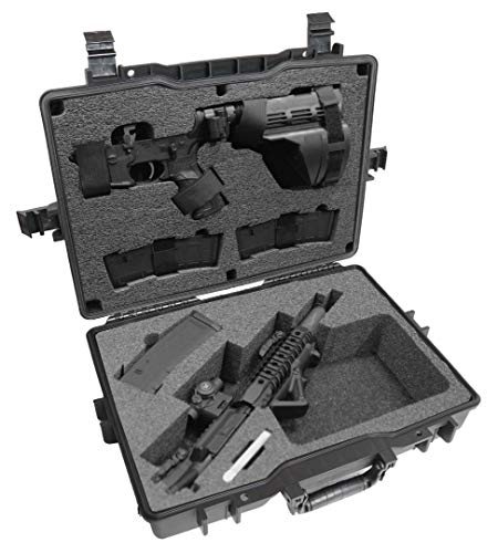 Case Club Compact AR Pistol (or SBR) Pre-Cut Waterproof Case with Silica Gel to Help Prevent Gun Rust (Upgraded Gen-2)