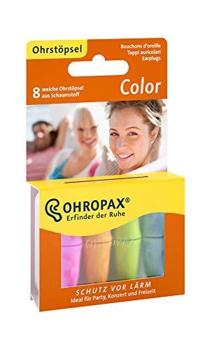 OHROPAX Ohrstöpsel Color - Bunte In-Ohr-Stöpsel aus Schaumstoff zum Schutz vor Lärm - Für Festivals und Konzerte, zum Entspannen, Schlafen und Musik hören - 8 Ohrstöpsel