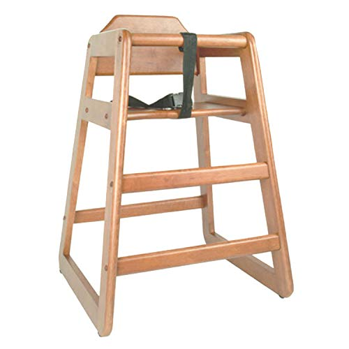 """TigerChef Wood High Chairs in Natural Finish with Safety Harness On Both Sides and A Wide Stance to Avoid Tipping Over Dimensions: 28-1/10"""" x 22"""" x 1-7/10"""" (1 Pack, Natural)"""
