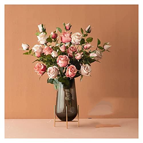 DIWA Ramo de Rosa de Flores Artificiales, Flor Falsa de Seda con jarrón, decoración de Flores de plástico de Alta Gama para Boda/balconystudy (Color : A)