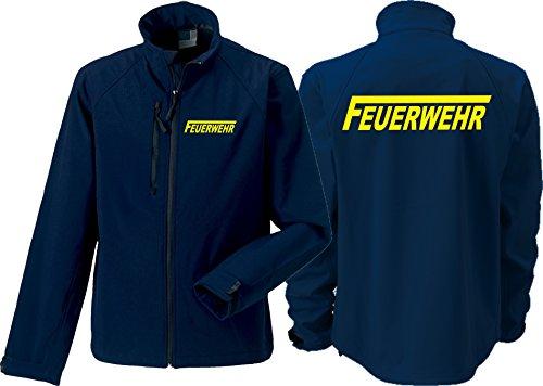 Feuer1 Veste softshell (moyenne) Navy, pompiers avec longue F jaune fluo XXXL bleu marine