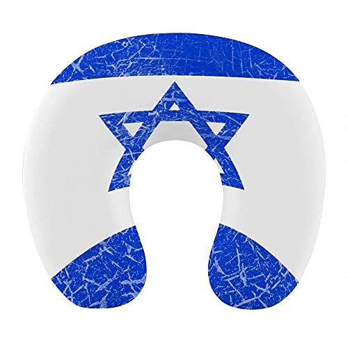 Almohada de Viaje en Forma de U de Moda Cojín de Apoyo para el Descanso del Cuello Almohada de Descanso cómoda y Transpirable para Viajes en avión / Coche / Oficina (Bandera de Israel Retro Vintage)