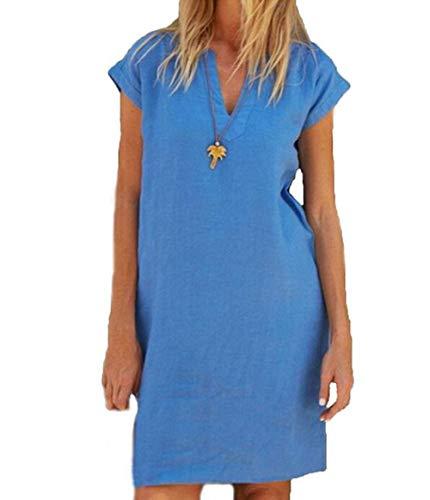 Yutila Sommerkleid Leinen Kleider Damen V-Ausschnitt Einfarbig A-Linie Kleid Knielang Kleid Ohne Zubehör