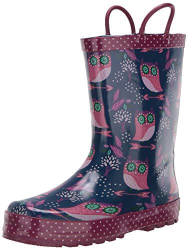 Western Chief girls Waterproof Printed Rain Boot with Easy Pull on Handles,Navy,12 M US