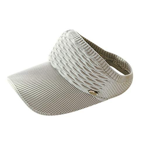 CANDLLY Hut Damen, Kopfbedeckung Zubehör Kopfschmuck Unisex Outdoor Sport Sonnenhut einfarbig Mesh atmungsaktiv plus Kappe stricken Adjustable Cap Sunscreen Sun Solide Mesh Hat(Grau,One Size