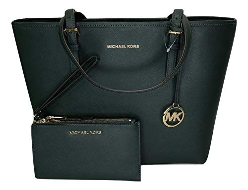 MICHAEL Michael Kors Jet Set Travel MD Carryall Tote bundled with Jet Set Double Zip Wristlet/Wallet (Racing Green)