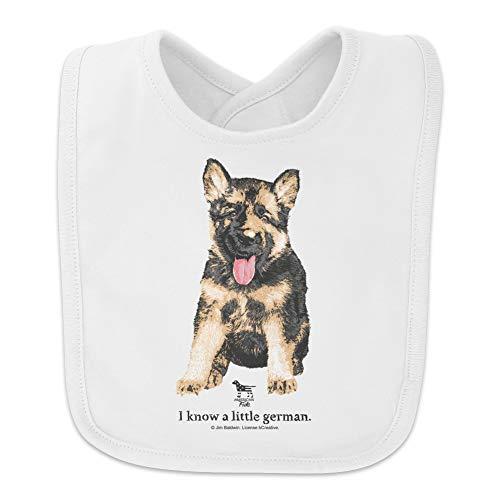 I Know a Little German Shepherd Puppy Dog Baby Bib - White