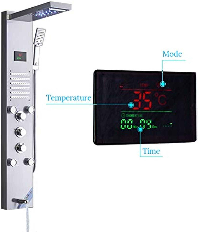SS-Duschset, modernes Multifunktions-LED-Duschsystem, intelligentes digitales Touch-Display, Massagesystem, Handbrause, einschlielich Duscharmaturdusche usw. für ein angenehmes Erlebnis