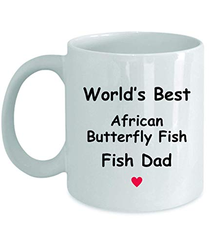 Regalo para papá de pez mariposa africana – World's Best – divertida idea de regalo, taza de té de café, regalos divertidos, cumpleaños, Navidad, aniversario, agradecimiento, 11oz taza blanca