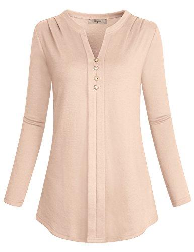 Miusey Tunic Tops Women, Juniors Long Sleeve Henley V Neck T Shirt Flowy Simple Loose Casual Wear Fit Flare Knit Cozy Soft Blouses Retro Shirttail Autumn Slouchy Sweatshirt Plus Size Beige XL