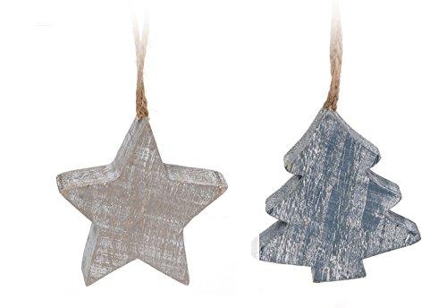 CHICCIE Lot de 2 suspensions en Bois pour Sapin de Noël Gris/Bleu 7 cm