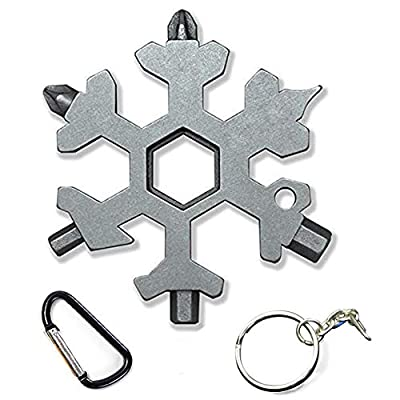 The Latest Snowflake Tool,19-in-1 Snowflake Multi Tool, Incredible Tool, Portable Stainless Steel Keychain Screwdriver Bottle Opener Snowflake Multitool for Outdoor Enthusiast and Men's Gift (Silver)
