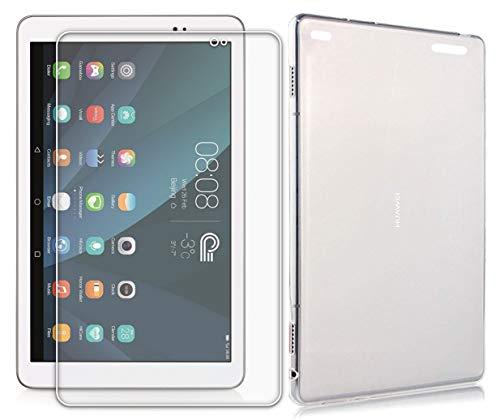 Domxteck (Paquete de 2 en 1) Funda Protectora de Silicona TPU Transparente + Protector de Pantalla 9H para Huawei MediaPad T1 10.0 (para Huawei MediaPad T1 10.0, Transparente)