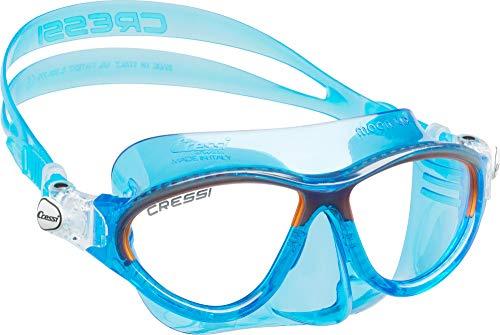 Cressi Moon Kid Mask, Maske für Wasseraktivitäten für Kinder, Blau / Orange, Einheitsgröße