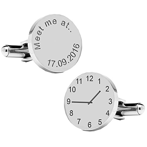 A4clo008-meet Me at.. Moment spécial Cufflinks-personalised-mens-gift-engraved-wedding