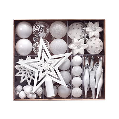 WSYW Juego de 58 bolas de Navidad con colgante de árbol de Navidad, adornos para árbol de Navidad, bolas colgantes con estrellas, bolas surtidas, bolas para Navidad, color blanco