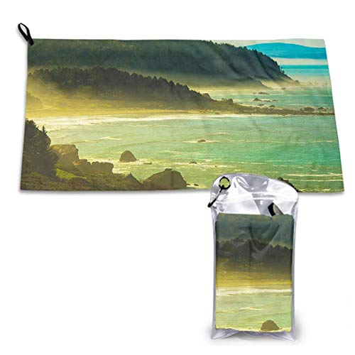 Custom&blanket Camping Towel 15.7 X 31.5 Inch Coast Early Spring in Northern California, United States Oversized, Soft, Super Absorbent and Fast Drying
