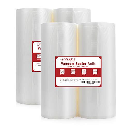 Buy Bargain Premium!! WVacFre 4Pack11X50 (Total 200 Feet) 4mil Food Saver Vacuum Sealer Bags Rolls w...