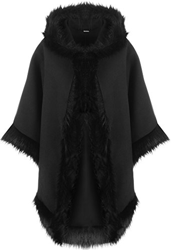 WearAll - Damen Ebene Faux Pelz Trimmen Abzugshaube Umhang Schal Mantel Poncho Mantel Top - Schwarz - Eine Größe
