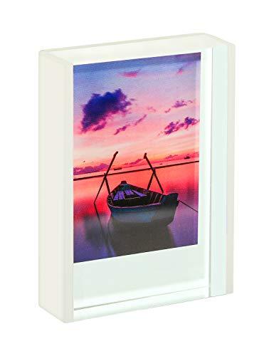 WINKINE Instax Mini-Rahmen 2x3 inch   Weiß Polaroid-Rahmen süße klein Bilderrahmen für Tischplatten und Desktops freistehende verschiebbare Fotoanzeige für Fujifilm- und Polaroid-Filme