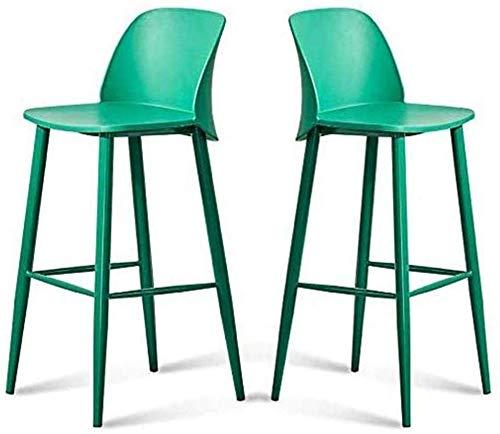 Barkruk set van 2 minimalistische stijl metalen poten keuken restaurant kruk stoel met rugleuning voor Pub Café barkruk Scandinavisch design moderne eetkamerstoelen Retro Lounge Side Office (kleur: groen)