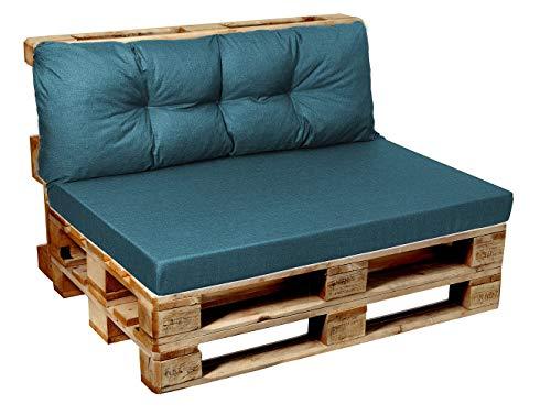 Garden factory Coussins pour Canape Euro Palette, Assise, Dossier, Set, extérieur intérieur Set (Assise 120x80+Dossier 120x40) Turquoise