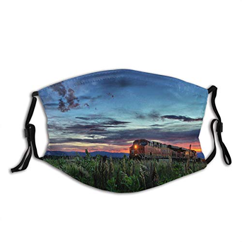 Colorado Rocki Berge Union Pacific Railroad Rail Road Zug Lok Lokomotive Sonnenuntergang Feuer Himmel Eisen Gesichtsdekorationen FA-Ce Co-Ver FA-Ce Mas-Ke Mit Filtern