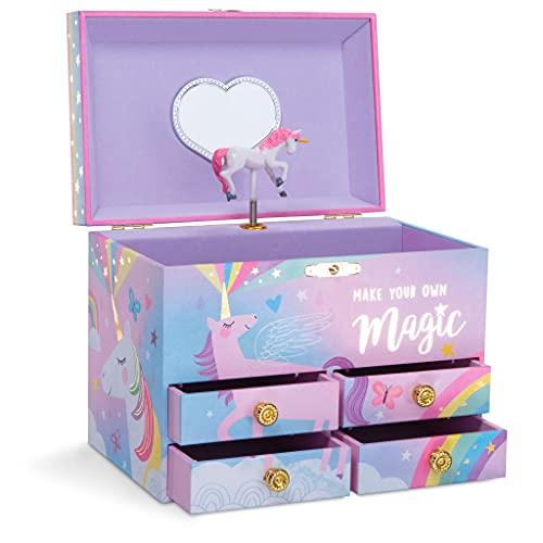 Jewelkeeper - Zuckerwatte Einhorn große musikalische Schmuck Aufbewahrungsbox mit 4 ausziehbaren Schubladen, Schmuckkästchen Mädchen - Over the Rainbow Melodie