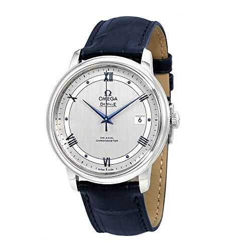 Omega de Ville co-axial automatica cronometro cinturino in pelle blu 424.13.40.20.02.003