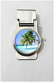 BlackKey Palm Trees Tropical Beach Ocean Breeze with Sun - Summer Metal Clip for Receipt, Money, Business Card & Credit Card, Style 2 -107
