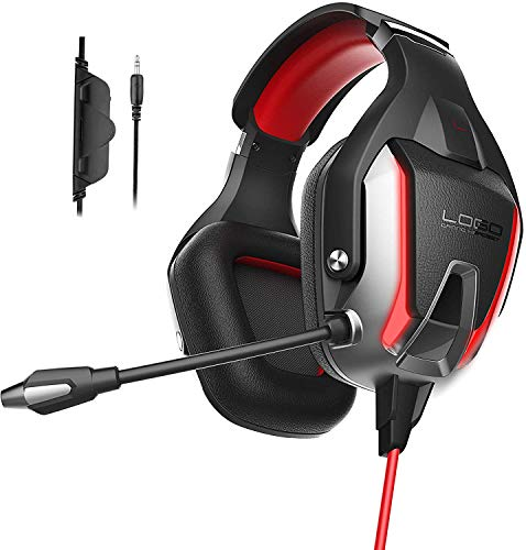 INHANDA Gaming Headset for Xbox ONE Controller, PS4 Headset with Noise Cancelling Mic & Bass Surround Sound, Gaming Headphoe for PC PS5 PS4 Xbox Nintendo Switch Games Laptop Mac