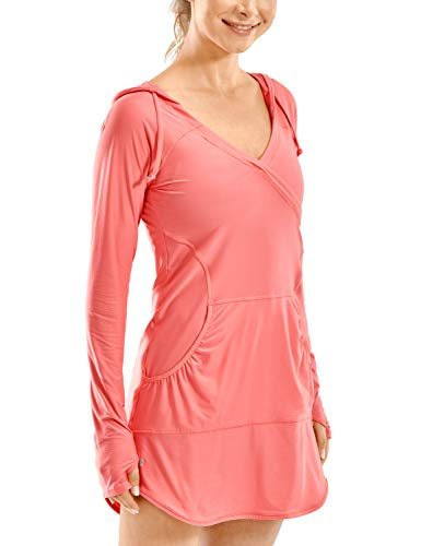 CRZ YOGA Women's UPF 50+ Quick Dry Swimsuit Cover Ups Long Sleeve Athletic Shirts Lightweight Workout Hoodies Blush Coral X-Small