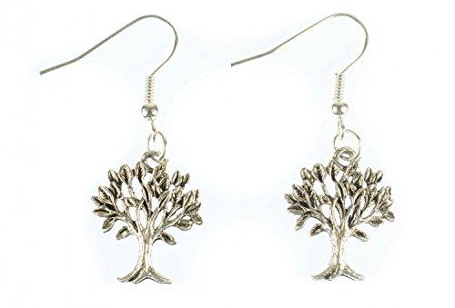 Árbol pendientes Miniblings hojas de las plantas forestales filigrana de plata árbol de...