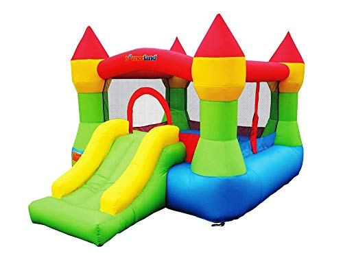 Bounceland Bounce House Castle with Basketball Hoop Inflatable Bouncer, Fun Slide, Safe Entrance Opening, UL Certified Strong Blower Included, 12 ft x 9 ft x 7 ft H, Kid Castle Party Theme Bounce House