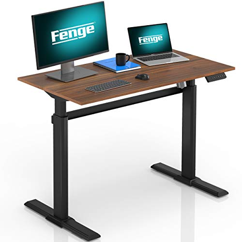 Fenge Escritorio de Pie Electrónico Mesa de Ergonomía Altura Ajustable 4 presets programables (Marco Negro y Escritorio marrón)