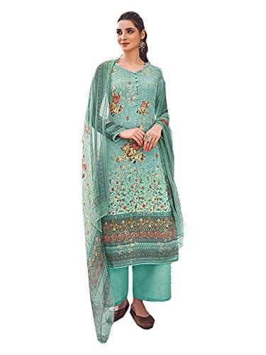 VERDE Traje de Mujer Indio Festival Listo para usar Impreso Muselina Chinon Lentejuelas Musulmán Salwar kameez 6557, Como se muestra, XXXL
